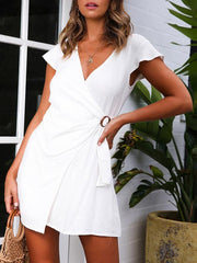Fashion Solid Color V-neck Mini Dresses