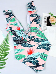 Falbala Printed One-piece Swimwear