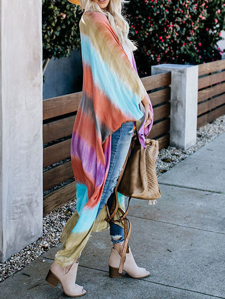 Rainbow Color Beach Cardigan