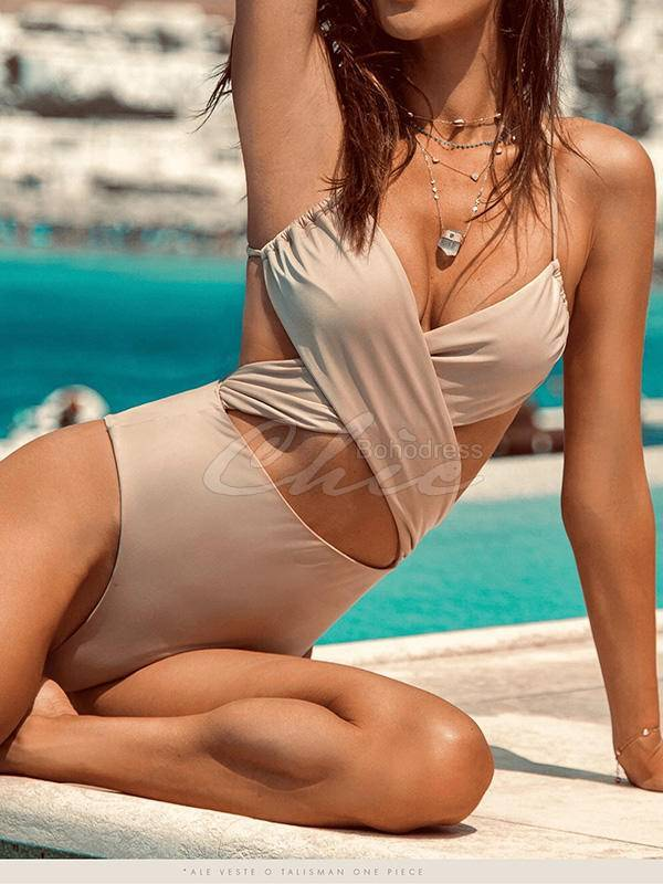 Solid Cross-Tie Backless One-Piece Swimsuit