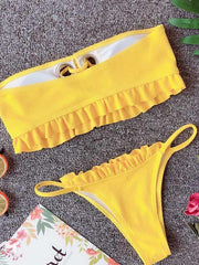 Falbala Lace-Up Bikinis Swimwear