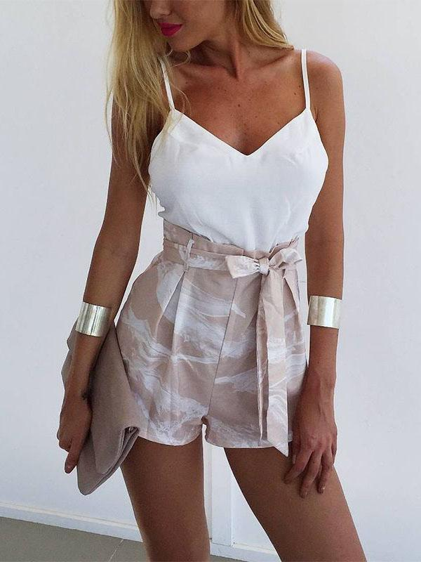 Bohemia Spaghetti-neck Backless Tops And Shorts Suits