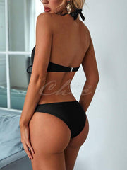 Deep V-Neck Hollow Bandage One-Piece Swimwear