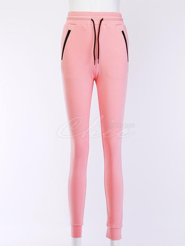 Solid Drawstring Lift-hip Leggings