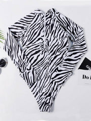 Conservative Zebra Print Long Sleeves One-Piece Wetsuit