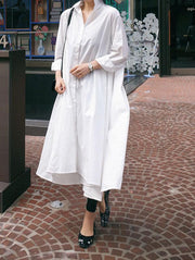 Casual Cropped Long Shirt Dress