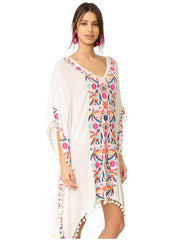 Bohemia Tassels Embroidered Loose Midi Dress Cover-Ups