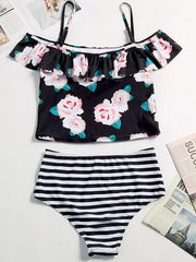 High Waisted Off-The-Shoulder Falbala Tankini