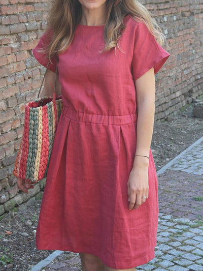 2 Colors Elastic Waist Midi Dress