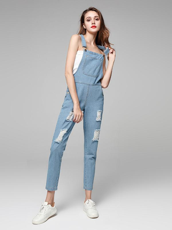 Fashion Light Blue Long Jean Pants Overalls Jumpsuits