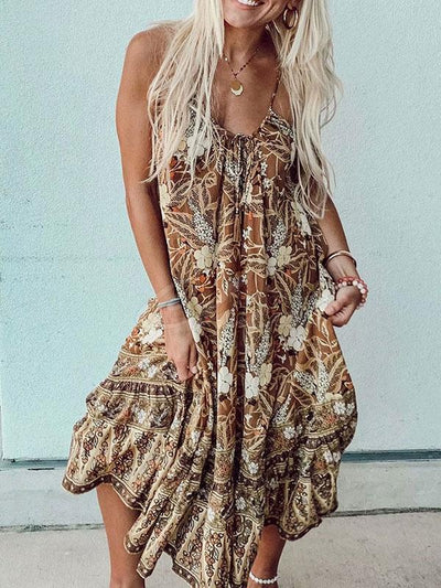 Bohemia Printed Halterneck Maxi Dress