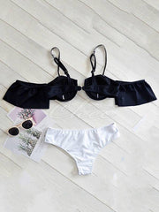 Falbala Sleeves Strapless Split Bikini Swimsuit