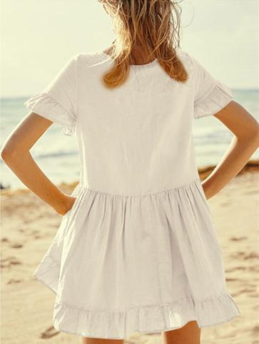 Beach Solid Ruffled Cover-ups Swimwear