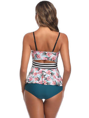 Flower Printed Bandeau Tankini Swimsuit