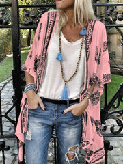 Casual 5 Colors Printed Batwing Sleeves Cover-up