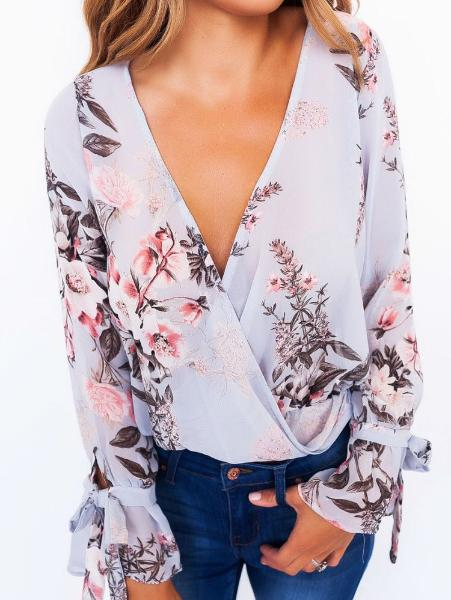 Printed Cross V-Neck Sexy Top