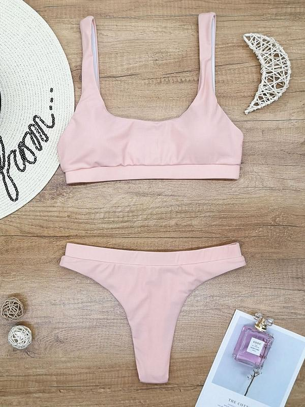 Solid Color Strapless High Waist Bikini Swimwear