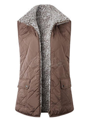Fur Zipper Two-sides Wear Pocket Vest