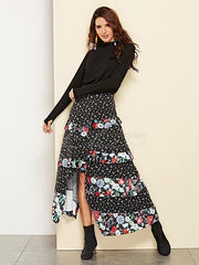 Floral Printed Cropped Split-front Skirt