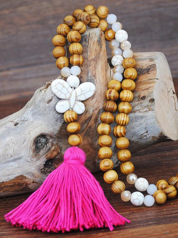 Ethnic-style Handmade String Wooden Beads Tassel Necklace Accessories