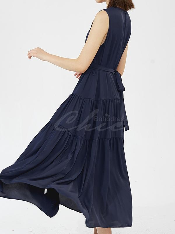 Casual Round-neck Sleeveless Long Dress