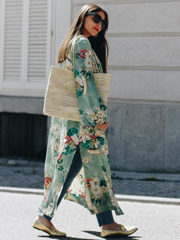 Fashion Floral Printed Cover-up Outwear