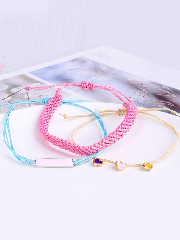 Hand-knitted Colored Peach Heart Drop Bracelet Set