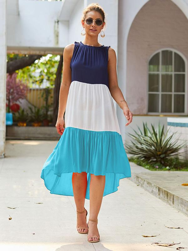 Color Stiching Boho Loose Midi Dresses