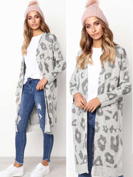 Leopard Print Long Sleeve Sweater Coat