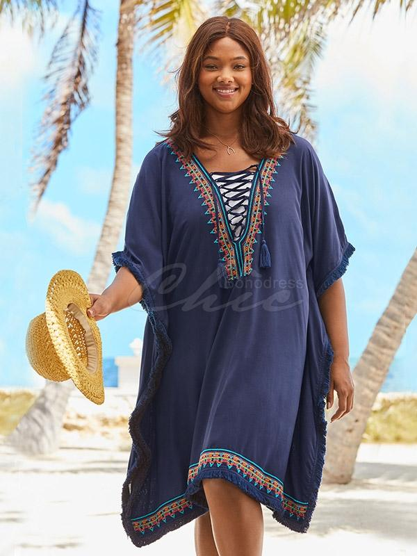 Embroidered Loose Tassel Dress