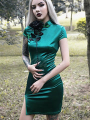 Solid Color Slim Fit Short Cheongsam Dress