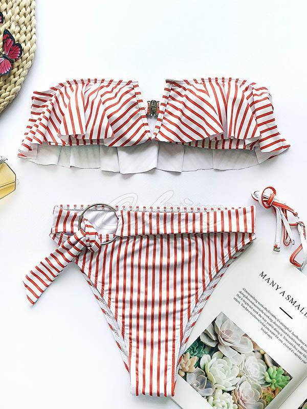Falbala Striped-Print Split Bikini Swimsuit