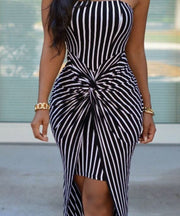 Black and White Striped Irregular Dress