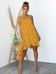 Bohemia Spaghetti-neck Dot Mini Dresses