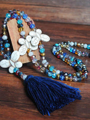 Handmade Beaded Color Crystal Bow Tassel Necklace Accessories