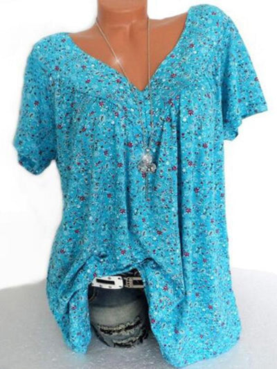 7 Color Plus Size Loose V-neck Short Shirt