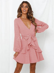 Falbala V-neck Mini Dress