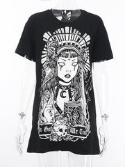 Black Loose Printed Gothic T-shirt Dress