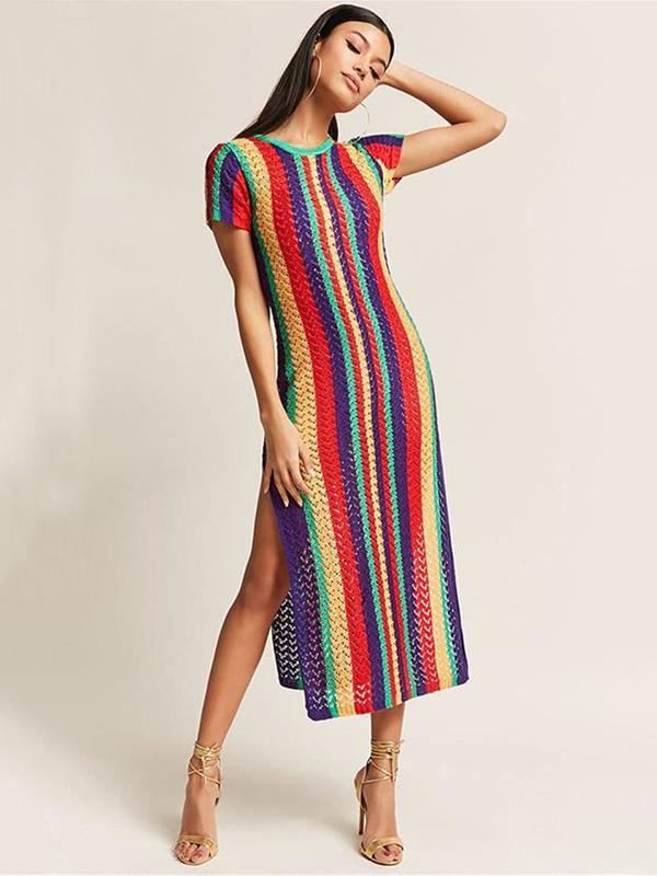 Colorful Stripes Split-side Cover-up Swimwear