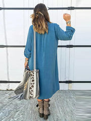Bohemia Solid Color Shirt Maxi Dress