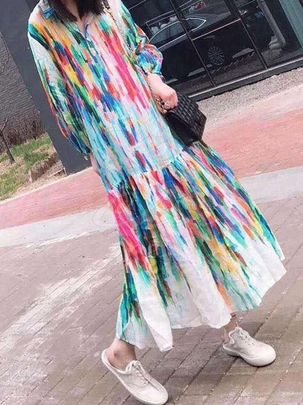 Colorful Printed Tie-Dyed Lapel Maxi Dress