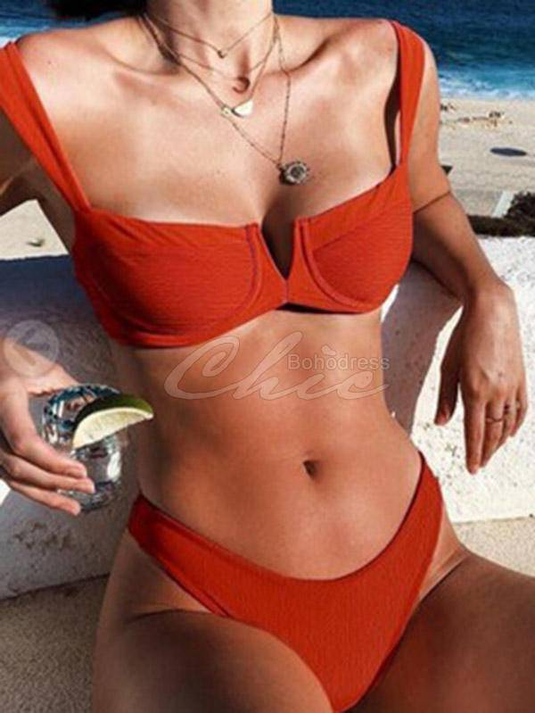 Solid Color Split Bikini Swimsuit