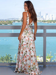 Deep V-neck Split-side Condole Belt Maxi Dress
