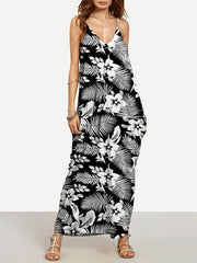 Beautiful Black Bohemia Spaghetti Straps V Neck Maxi Dress