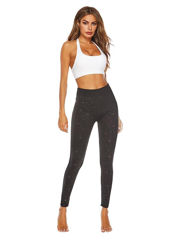 High Waist Star Printed Sports Leggings