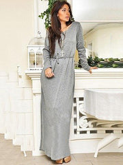 Solid Round-neck Long Sleeves Maxi Dress