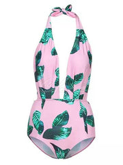 Floral-Print  Deep V-Neck Bandage One-Piece Swimwear
