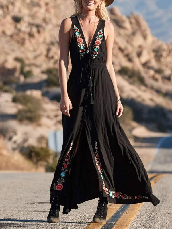 Bohemia Embroidered Sleeveless Split-front Maxi Dresses