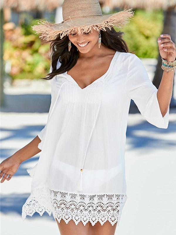 3/4 Sleeve V-neck Lace Cover-ups Swimwear