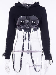 Gothic Style Back Lace Up Hoodies Top